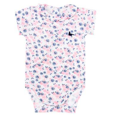 Imagem 1 do produto Body curto para bebê em cotton Flourish - Mini Sailor - 01104440 BODY M/C C/BABADO NA GOLA COTTON FLORAL-9-12
