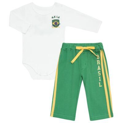 Imagem 1 do produto Body longo com Calça para bebe em Pima Cotton Supreme Brasil - Mini & Kids - CBBC334 BODY ML COM CALÇA SUEDINE BRASIL-M
