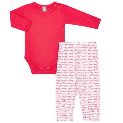 Imagem 1 do produto Body longo com Calça para bebe em algodão egípcio c/ jato de cerâmica e filtro solar fps 50 Sweet Love - Mini & Kids - CS561.256 CONJ BODY ML C/ MIJAO SUEDINE LOVE-P