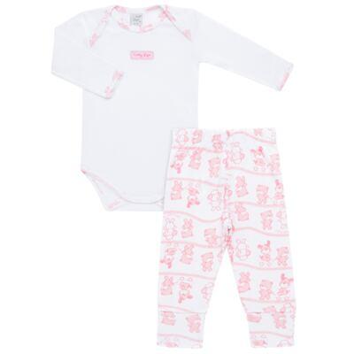 Imagem 1 do produto Body longo com Calça (mijão) para bebe em high comfort Pink Litle Friends - Vicky Lipe - 1825151.311 BODY M/L MIJÃO PÉ REVER. FRIENDS-P