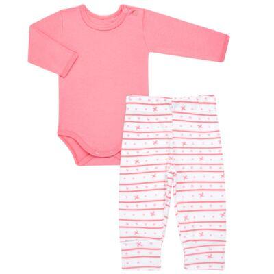 Imagem 1 do produto Body longo com Calça para bebe em algodão egípcio c/ jato de cerâmica e filtro solar fps 50 Pink Little Toys - Mini & Kids - CS541.320 CONJ BODY ML C/ MIJAO ESTRELAS ROSA-RN