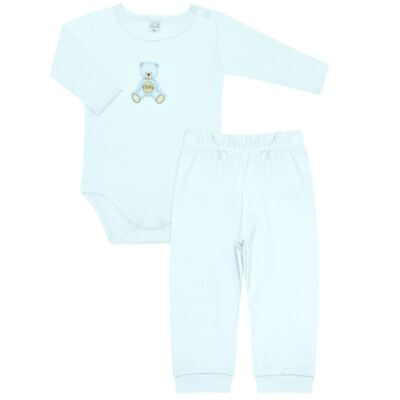 Body longo com Calça  em Pima Cotton Supreme Prime Bear Azul - Mini & Kids - CS971 BODY ML C/ MIJÃO SUEDINE AZUL BB-G