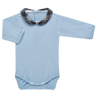 Imagem 2 do produto Body longo c/ Calça (Mijão) em algodão egípcio Windsor - Roana - 02532024370 Conjunto Body longo com Calça Azul Xadrez-RN