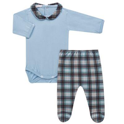 Imagem 1 do produto Body longo c/ Calça (Mijão) em algodão egípcio Windsor - Roana - 02532024370 Conjunto Body longo com Calça Azul Xadrez-P