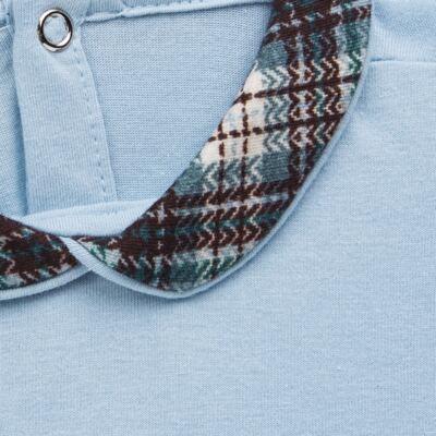 Imagem 3 do produto Body longo c/ Calça (Mijão) em algodão egípcio Windsor - Roana - 02532024370 Conjunto Body longo com Calça Azul Xadrez-P