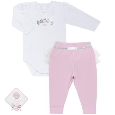 Imagem 1 do produto Body longo com Calça (mijão) para bebe em spandex Ballerine - Mini & Kids - CLTU1356 BODY ML E MIJAO C/BABADO TULE EXPAND BALLET-G