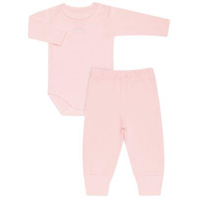 Imagem 1 do produto Body longo com Calça para bebe em algodão egípcio c/ jato de cerâmica e filtro solar fps 50 Rosa - Mini & Kids - CS196 BODY ML C/ MIJÃO SUEDINE ROSA BB-P