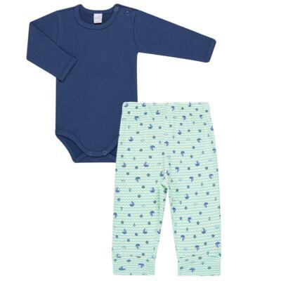 Imagem 1 do produto Body longo com Calça para bebe em algodão egípcio c/ jato de cerâmica e filtro solar fps 50 Little Boat - Mini & Kids - CS641.326 CONJ BODY ML C/ MIJAO SUEDINE MAR-M