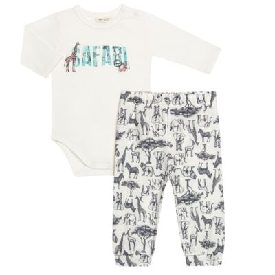 Body longo c/ Calça (Mijão) para bebe em viscomfort Safari - Petit - 17064308 CJ BODY M/L MIJAO PE REV COTTON/VIS SAFARI-G