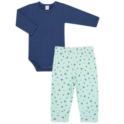 Imagem 1 do produto Body longo com Calça para bebe em algodão egípcio c/ jato de cerâmica e filtro solar fps 50 Little Boat - Mini & Kids - CS641.326 CONJ BODY ML C/ MIJAO SUEDINE MAR-P