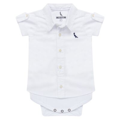 Imagem 1 do produto Body camisa para bebe Branco - Reserva Mini - RM25359 BODY CAMISA BRANCO-M