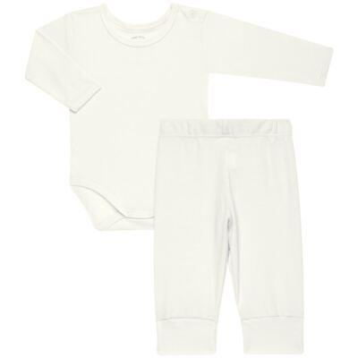 Imagem 1 do produto Body longo com Calça para bebe em Pima Cotton Supreme Marfim - Mini & Kids - P