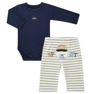 Imagem 1 do produto Body longo com Calça para bebe em algodão egípcio c/ jato de cerâmica e filtro solar fps 50 Sports - Mini & Kids - P