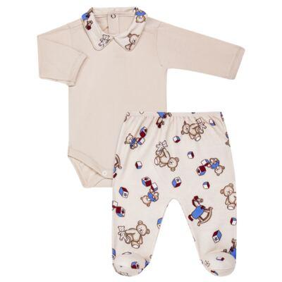 Imagem 1 do produto Body com Mijão em algodão egípcio Baby Toys - Roana - BM000887005 BODY C MIJAO 666 BEGE-RN