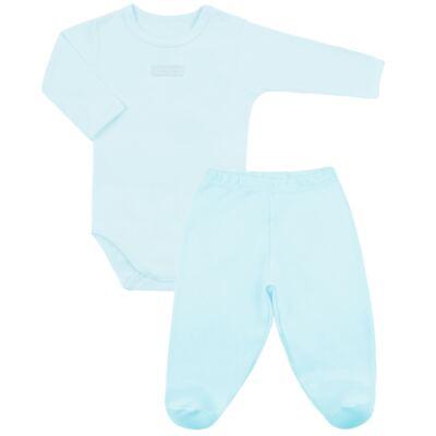 Imagem 1 do produto Body com Calça (mijão) em suedine Azul - Vicky Lipe - CEL233 CJ. BODY ML C MIJAO SUEDINE AZUL BB-RN