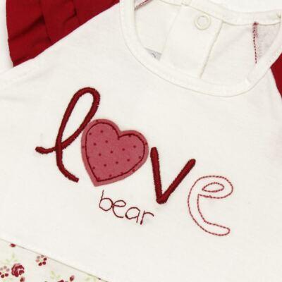 Imagem 3 do produto Macacão babadinhos c/ faixa para bebe em malha Flowery Bear - Vicky Lipe - 20671360 MACACÃO RAGLÃ C/ BABADOS MALHA URSA FLORAL-P