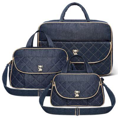 Imagem 1 do produto Mala Maternidade para bebe + Bolsa para viagem Astúrias + Frasqueira Térmica Galícia Golden Denim - Classic for Baby Bags