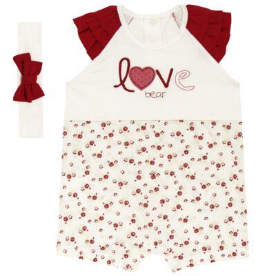Imagem 1 do produto Macacão babadinhos c/ faixa para bebe em malha Flowery Bear - Vicky Lipe - 20671360 MACACÃO RAGLÃ C/ BABADOS MALHA URSA FLORAL-M