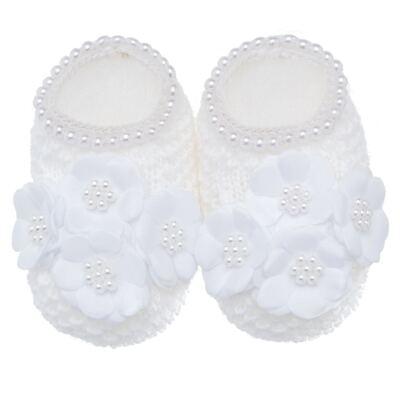 Imagem 1 do produto Sapatinho para bebe em tricot Flores & Pérolas Branco - Roana