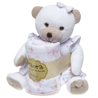 Imagem 1 do produto Ursinha chocalho c/ Manta em suedine Borboletas - Anjos Baby