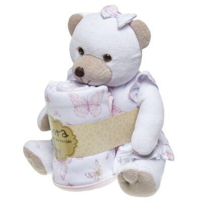 Imagem 2 do produto Ursinha chocalho c/ Manta em suedine Borboletas - Anjos Baby