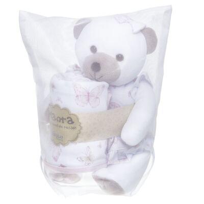 Imagem 3 do produto Ursinha chocalho c/ Manta em suedine Borboletas - Anjos Baby