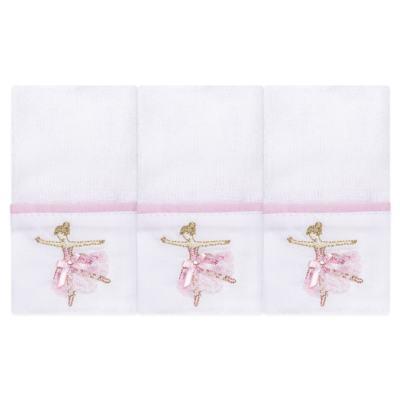 Imagem 1 do produto Kit com 3 paninhos de boca para bebe em fralda Bailarina - Roana