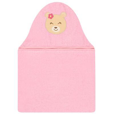Imagem 1 do produto Toalha com capuz para bebe Ursinha Rosa - Pingo Lelê