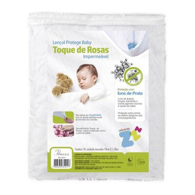 Imagem 1 do produto Lençol Protege Baby Toque de Rosas Impermeável - Fibrasca