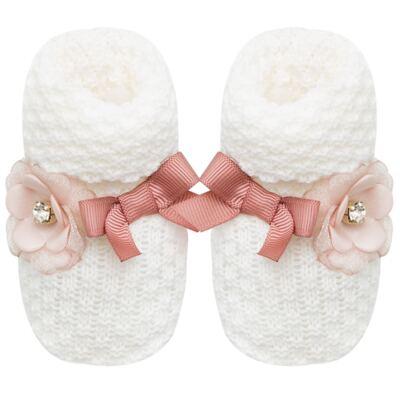 Imagem 1 do produto Botinha em tricot Laço & Flor Rosa Seco - Roana