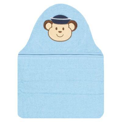 Imagem 1 do produto Toalha com capuz para bebe Macaquinho Azul - Pingo Lelê