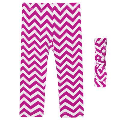Imagem 1 do produto Legging c/ Faixa de cabelo para bebe em lycra Chevron Pink - Letiti - LTT03 LEGGING FAIXA LUMA PINK-M