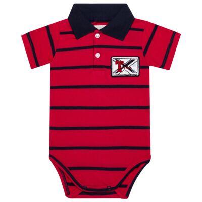 Imagem 1 do produto Body Polo para bebe em piquet Vermelho/Marinho - Toffee - 1009T1422 BODY GOLA POLO M/C PIQUET VERMELHO-3-6