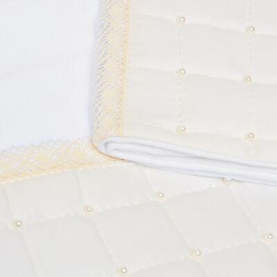 Imagem 2 do produto Jogo de lençol para berço em malha Matelassê & Pérolas Marfim - Roana