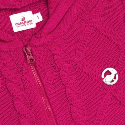 Imagem 2 do produto Casaco com capuz em tricot trançado Pink - Missfloor - 76TT0001.376 SWEATER COM TRANÇAS - TRICOT-1