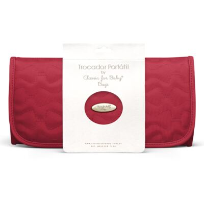 Imagem 1 do produto Trocador Portátil para bebe Laços Matelassê Cereja - Classic for Baby Bags
