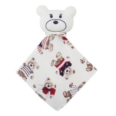Imagem 2 do produto Kit: Naninha Ursinho + Touca + Par de Luvas para bebe em suedine Baby Bear - Coquelicot