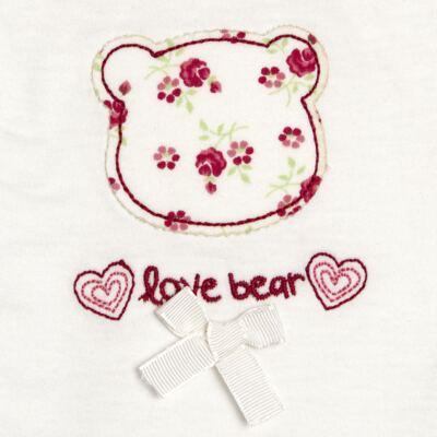 Imagem 3 do produto Macacão babadinhos para bebe em malha Flowery Bear - Vicky Lipe - 20741360 MACACÃO ML C/REC E BABADOS MALHA URSA FLORAL-P