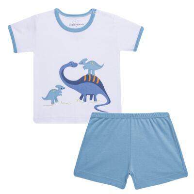 Imagem 1 do produto Pijama curto para bebe em suedine Dino - Dedeka - DDK17123/L44 Pijama Ribana Azul Sereno-P