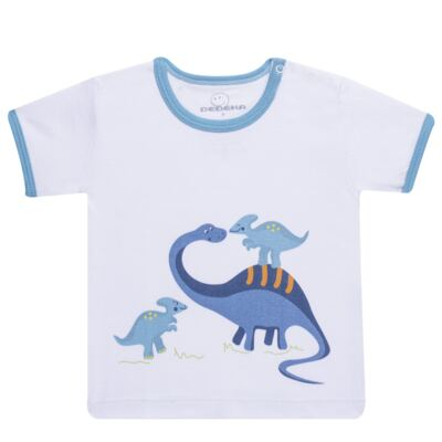 Imagem 2 do produto Pijama curto para bebe em suedine Dino - Dedeka - DDK17123/L44 Pijama Ribana Azul Sereno-P