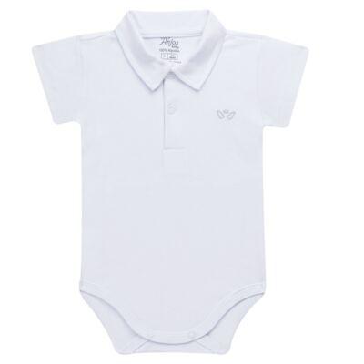 Imagem 1 do produto Body polo curto para bebe em suedine Branco - Anjos Baby - AB1010.001 Body Polo masc. suedine Branco -P