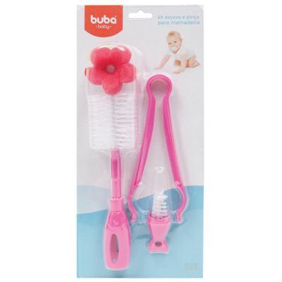 Imagem 1 do produto Kit: Escova e Pinça para mamadeira Rosa - Buba