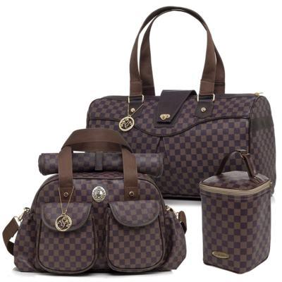 Imagem 1 do produto Maxi Bolsa maternidade + Bolsa + Porta Mamadeira New Scotland Marrom - Lequiqui