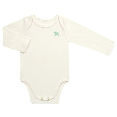 Imagem 1 do produto Body longo para bebe em suedine Off White - Charpey - CY21390.138 BODY SUEDINE ML OFF WHITE -G