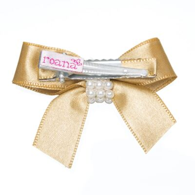 Imagem 2 do produto Presilha Laço cetim Pérolas Dourada - Roana