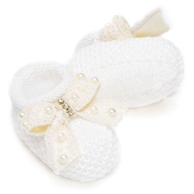 Imagem 3 do produto Sapatinho para bebe em tricot Laço Pérolas & Strass Marfim - Roana