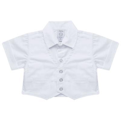 Imagem 3 do produto Camisa Colete & Gravata com Shorts em tricoline Branco - Sylvaz - SZ487 CONJUNTO CURTO BATIZADO C/ COLETE E GRAVATA-G