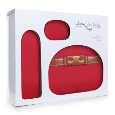 Imagem 2 do produto Kit Acessórios para bebe Laço Caramel Vermelho - Classic for Baby Bags