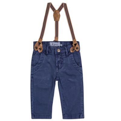 Imagem 1 do produto Calça & Suspensório jeans masculina para bebê Denim - Toffee & Co. - 4253 CALÇA BABY SAR SUSP MASC SARJA AZUL ESCURO-GG