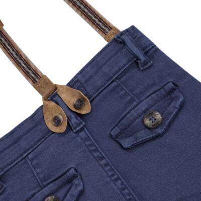 Imagem 4 do produto Calça & Suspensório jeans masculina para bebê Denim - Toffee & Co. - 4253 CALÇA BABY SAR SUSP MASC SARJA AZUL ESCURO-GG